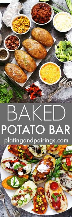 """fall party food Create a Grilled """"Baked"""" Potato Bar for your next party, potluck or tailgating event. Its a fun and festive way to feed a crowd, and the topping possibilities are endles Grilled Baked Potatoes, Baked Potato Bar, Cooking For A Crowd, Food For A Crowd, Party Food Buffet, Appetizers For A Crowd, Party Appetizers, Christmas Appetizers, Feeding A Crowd"""