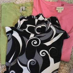Green pink and black deal FLASH SALE  Tops short sleeve black has some stains may come out not sure ❤️tapemeasure black small linden hill pink  small green is Susan Lawrence Mixed Tops