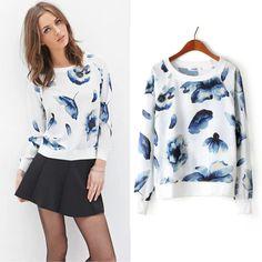 E.Li Fashion New 2015 Women Sweatshirt O-neck Casual Foral Print Hoodies Women Sport Loose Harajuku Moleton Feminino Plus Size