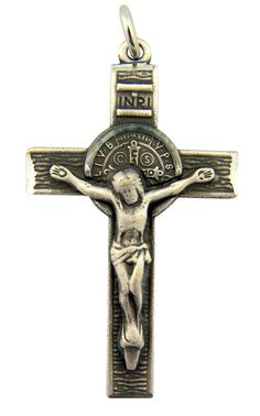Plated Pewter Saint Benedict of Nursia Medal Cross Crucifix Pendant, 1 3/4 Inch. Pewter - 1 3/4 Inch. Includes 24 Inch Endless Rhodium Plated Chain. Gift Boxed.
