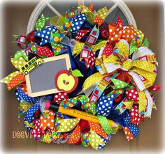Classroom Deco Mesh Wreath Teacher Deco Mesh by DeeVineDeeZines
