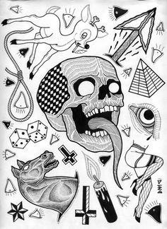 dmcook - a pretty fucking random tattoo flash sheet