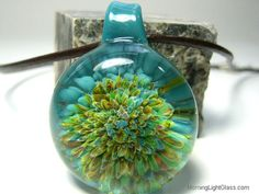 Aqua and Green Frit Glass Implosion Pendant, Necklace