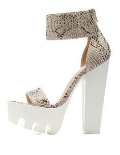 Python Chunky Lug Platform Heels by Charlotte Russe - Natural