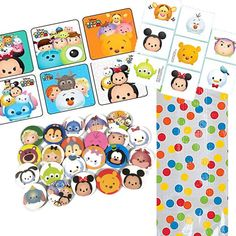 12 Guest Tsum Tsum Party Favors - Bags, Stickers, Buttons, Tattoos
