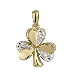 14k Two Tone Gold and Diamond Shamrock Necklace - Jewelry Gifts for St. Patrick's Day