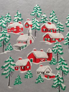 Vintage Christmas Gift Wrapping Paper Snowy Houses Village by TheGOOSEandTheHOUND on Etsy
