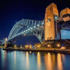 Sydney Harbour Bridge shining bright in the night 📷 Instagram.com/followtobelost