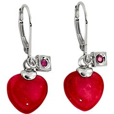 ELLE Jewelry - EMOTION Sterling Silver Dyed Red Quartz Lever Back... ($70) ❤ liked on Polyvore featuring jewelry, earrings, earrings jewellery, round earrings, heart-shaped jewelry, sterling silver heart earrings and heart earrings