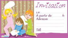 Invitation soirée pyjama entre filles à imprimer.