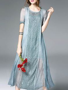 759f583a96fde Light Blue Elegant Two Piece Midi Dress Long Sleeve Midi Dress
