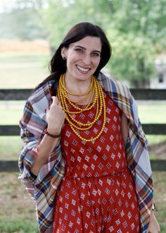 Fall Outfit, Dress, bead necklace, blanket scarf, plaid, casual outfit, Louis Vuitton Speedy Damier Ebene.