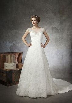 Illusion Back Sheer Illusion Neckline Ball Gown Tulle Chapel Train Wedding Dress - 1300103916B - US$289.99 - BellasDress