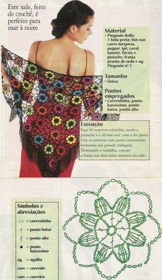 Flower shawl with diagrams chal crochet unit rose pattern Crochet Diy, Crochet Shawl Diagram, Beau Crochet, Poncho Au Crochet, Bonnet Crochet, Crochet Shawls And Wraps, Crochet Motifs, Crochet Squares, Irish Crochet