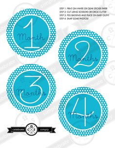 Monthly Baby Milestone Stickers - Blue Polka Dots - INSTANT DOWNLOAD on Etsy, $5.00