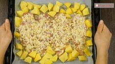Cena espectacular con pocos ingredientes − ¡Pechuga de pollo rellena con queso y jamón! Hawaiian Pizza, Macaroni And Cheese, Bacon, Food And Drink, Vegetables, Ethnic Recipes, Mozzarella, Cooking Recipes, Few Ingredients