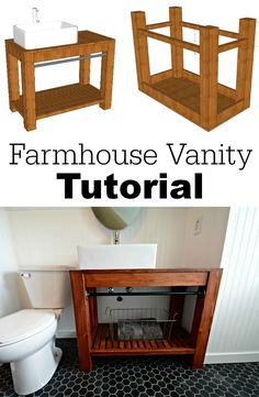 Farmhouse Bathroom Vanity Tutorial Learn how to build your own modern farmhouse bathroom vanity! Great diagrams to help you along!Learn how to build your own modern farmhouse bathroom vanity! Great diagrams to help you along! Farmhouse Vanity, Modern Farmhouse Bathroom, Baños Shabby Chic, Diy Bathroom Vanity, Bathroom Ideas, Dog Bathroom, Bathroom Makeovers, Inexpensive Bathroom Vanity, Bathroom Bench