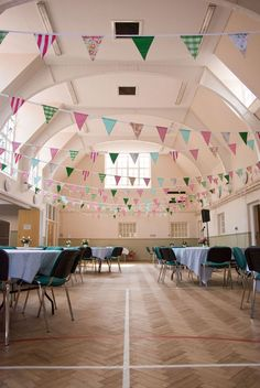 village hall, bunting, diy wedding, image by Mustard Yellow Photography
