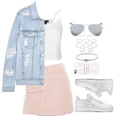 A fashion look from October 2016 featuring Topshop tops, SJYP jackets and Brandy Melville skirts. Browse and shop related looks. Hot Outfits, Korean Outfits, Summer Outfits, Teen Fashion, Korean Fashion, Womens Fashion, Look Girl, Topshop Tops, People Dress