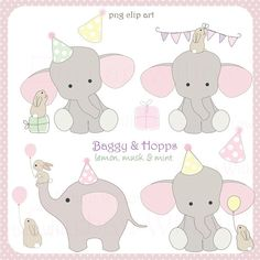Elephant and Rabbit Clipart Elephant with Balloon Birthday