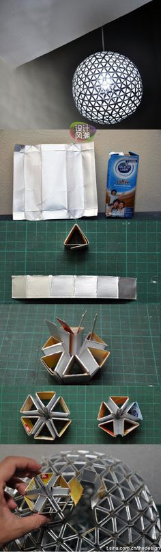 Whoa! crazy DIY silver up-cycle lampshade using the inside of foil lined cartons (coffee, milks, etc.)