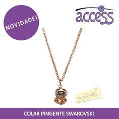 colar pingente, swarovski, moda, dourado, cristal, access