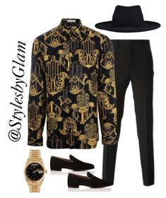 """""""Miami Nights"""" by stylesbyglam on Polyvore featuring Givenchy, Versace, Christian Louboutin, Rolex, kangol, men's fashion and menswear"""