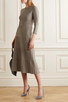 CASASOLA | Metallic ribbed-knit midi dress | NET-A-PORTER.COM