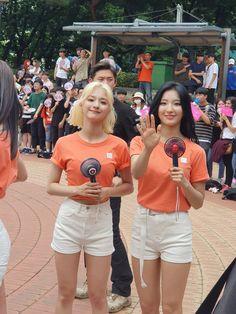 fromis_9 - Nagyung & Saerom 190714 South Korean Girls, Korean Girl Groups, Pop Group, Kpop Girls, Idol, Short Dresses, Couples, Color, Fashion