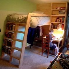 love the bookshelves! I've always wanted to make the boys loft beds. I'll have to take a closer look at this plan.I love the bookshelves! I've always wanted to make the boys loft beds. I'll have to take a closer look at this plan. Build A Loft Bed, Loft Bed Plans, Murphy Bed Plans, Desk Plans, Table Plans, Bunk Bed With Desk, Bunk Beds With Stairs, Cool Bunk Beds, Loft Spaces