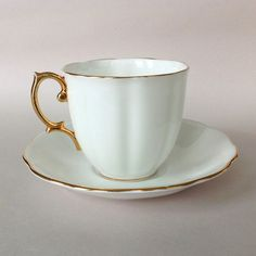 Royal Albert Countess Shape White Cup and Saucer with Gold Trim