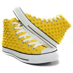 Studded Converse yellow stud converse high with custom design yellows sneakers CUSTOMDUO on ETSY ($145) found on Polyvore