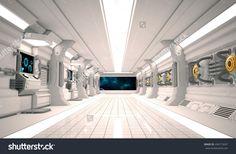 Futuristic design spaceship interior with metal floor and light panels.(3D Rendering)