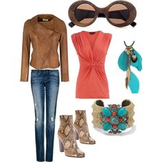 coral and teal, created by tara-moody.polyvore.com