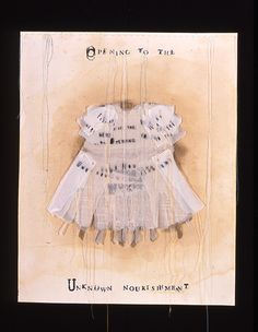 """LESLEY DILL ~ """"Unknown Nourishment"""" (2001) Litho, etching, collage, thread on paper 27 x 21.5 in http://www.lesleydill.net @ PRINTMAKING : LANDFALL PRESS"""