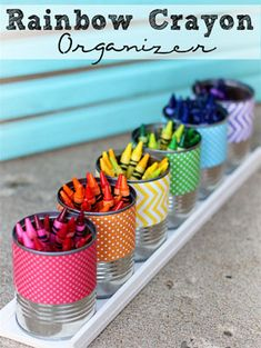 Cute crayon pencil pots. Cute DIY