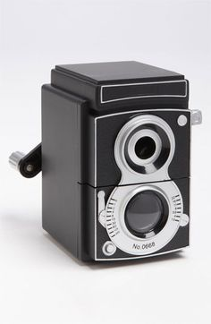 Kikkerland Design Camera Pencil Sharpener cute novelty gift for my hubby he actually collects box cameras Old Cameras, Pencil Sharpener, Photography Camera, Desk Accessories, Retro, Cool Gadgets, Drill, Great Gifts, Stationery