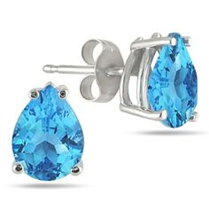All-Natural Genuine 7x5 mm, Pear Shape Blue Topaz earrings set in Platinum Szul. $429.00