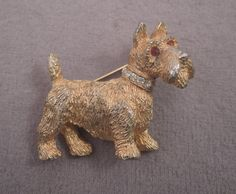 Signed Nemo Gold Tone and Rhinestone Schnauzer Pin 1960s by thejeweledbear on Etsy