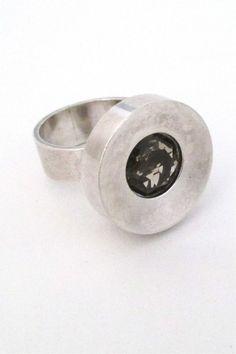 Elis Kauppi, Kupittaan Kulta, Finland - vintage modernist 'framed smoky quartz' ring #Finland #ring