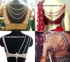 Stylish jeweled saree blouse designs embellished with stones and bead chains on the back. Related PostsBlouse Back Neck PatternsBoat Neck Fully Embroidered BlouseThread Work Designer BlouseLatest Fashionable Saree Blouse Designs Blouse Back Neck Designs, Fancy Blouse Designs, Bridal Blouse Designs, Choli Designs, Saris, Sari Bluse, Indie Mode, Stylish Blouse Design, Designer Blouse Patterns