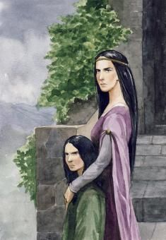 "Morwen and Turin. From ""The Children of Hurin."" Dor-lómin was invaded by the Easterlings at Morgoth's command. Túrin remained with Morwen, who hid him from the Incomers, fearing that they would enslave or kill him as the heir of both Dor-lómin and Ladros. She sent him secretly and under protection of Grithnir and Gethron to the Elven-realm of Doriath; Morwen remained in Dor-lómin herself, and shortly afterwards Túrin's second sister, Nienor, was born."