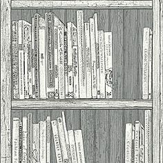 Contemporary bookcase design with white and cream books. Detailed bookcase and artefacts design. These fantastic Bookcase Wallpapers will make a great feature in any room! Painting Wallpaper, Wall Wallpaper, Pattern Wallpaper, Grey And White Wallpaper, Disney Themed Nursery, Contemporary Bookcase, Bedroom Vintage, Cool Walls, Wall Murals