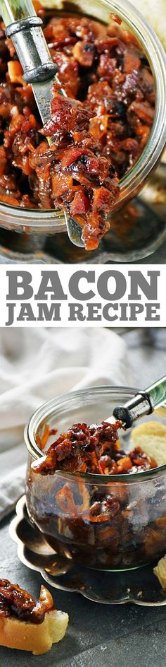 Bacon Jam is an easy recipe to make and great to have on hand. It is an amazing flavor enhancer for toast sandwiches burgers and even in scrambled eggs. We love to top everything with this sweet savory and smoky spread! Bacon Recipes, Jam Recipes, Canning Recipes, Appetizer Recipes, Pepperoni Recipes, Jalapeno Recipes, Avacado Appetizers, Prociutto Appetizers, Mexican Appetizers