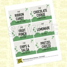 Mad Science Party Food Labels from the Mad by SpaceshipsLaserBeams, $3.95