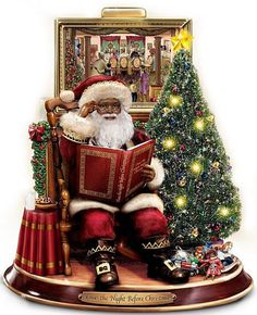 Storytelling Santa with John Holyfield art - African American Santa Claus
