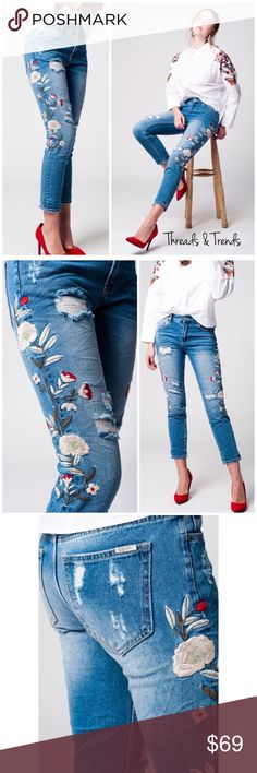 """Embroidered Jeans 5-pocket distressed jeans in washed denim and skinny legs. Regular waist, embroidered with flowers. Fabric: 72% Cotton 23% Polyester 3% Viscose 2% Elasthanne. Price is firm unless bundled. LIMITED QUANTITY   M/8  Waist 32"""" Rise 10"""" Inseam 27"""" Hips 40""""  L/10 Waist 34""""                                                                                             Rise 10"""" Inseam 28"""" Hips 42"""" Threads & Trends Jeans Skinny"""
