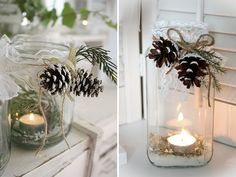 Put coarse salt, imitating the snow, and a candle in a glass jar. Outside you can decorate it with lace and a string with some pineapples. Christmas Mason Jars, Noel Christmas, Christmas Crafts, Christmas Ornaments, Rustic Christmas, Christmas Lights, Festival Decorations, Xmas Decorations, Ideas Decoracion Navidad
