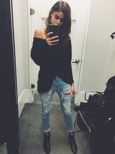 loose neck sweater + distressed jeans + black ankle boots