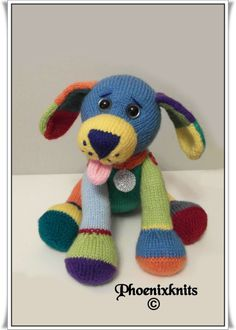 Here is Jacob the little puppy with the multi - coloured coat, completely poseable, the pattern can be found at :- http://www.ravelry.com/stores/phoenixknits
